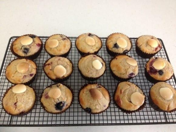 Healthy Banana Berry Muffins