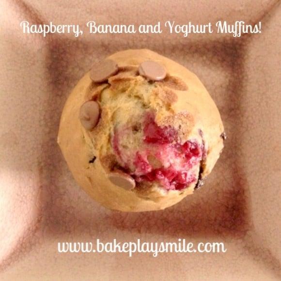 Raspberry, Banana and Yoghurt Muffins