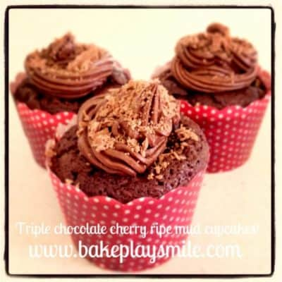 Insanely Rich Triple Chocolate Cherry Ripe Mud Cupcakes