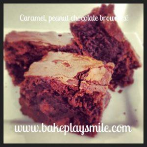 Caramel, peanut chocolate brownies