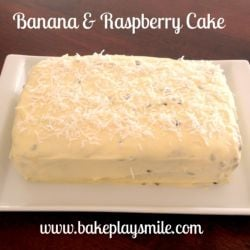 Banana and Raspberry Cake with Passionfruit Cream Cheese Frosting