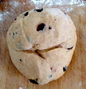 A dough ball of hot cross bun mixture.