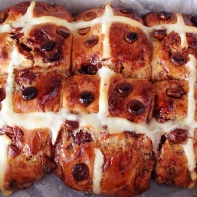 Choc Chip Hot Cross Buns (Easter recipe)