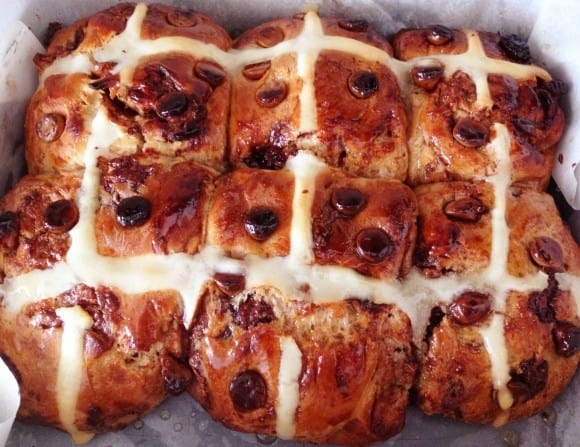 Choc Chip Hot Cross Buns just out of the oven.