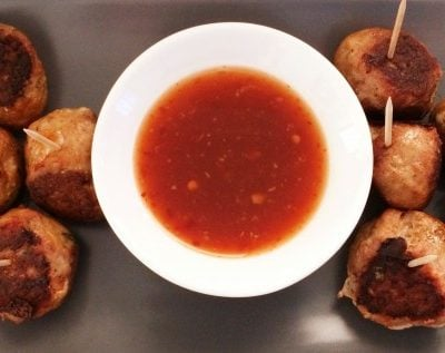 Turkey Meatballs with Sweet Chilli Dipping Sauce