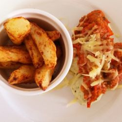 Chicken Parma Meatballs with Crunchy Potato Chips