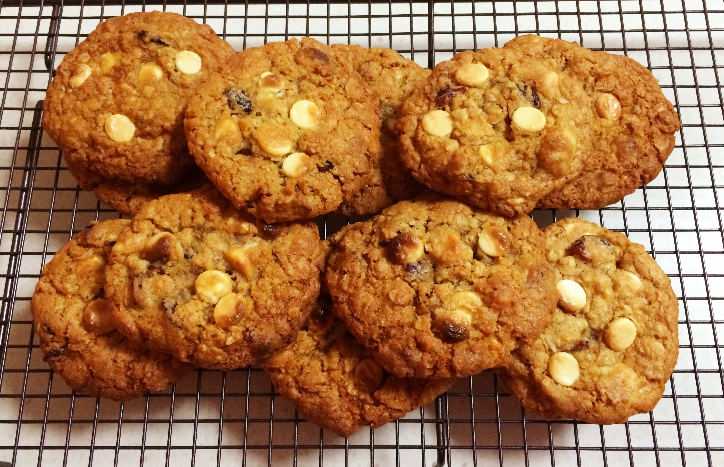 Macadamia, Cranberry & White Chocolate ANZAC Cookies - Bake Play Smile