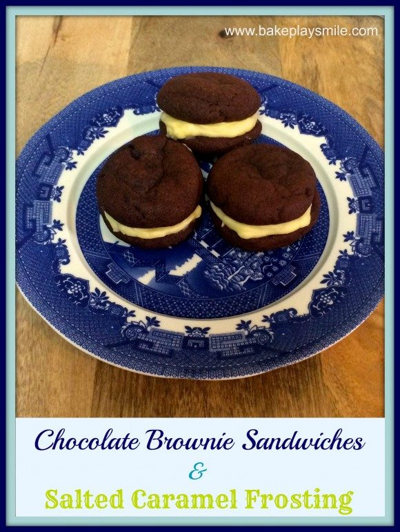 Chocolate Brownie Sandwiches with Salted Caramel Frosting