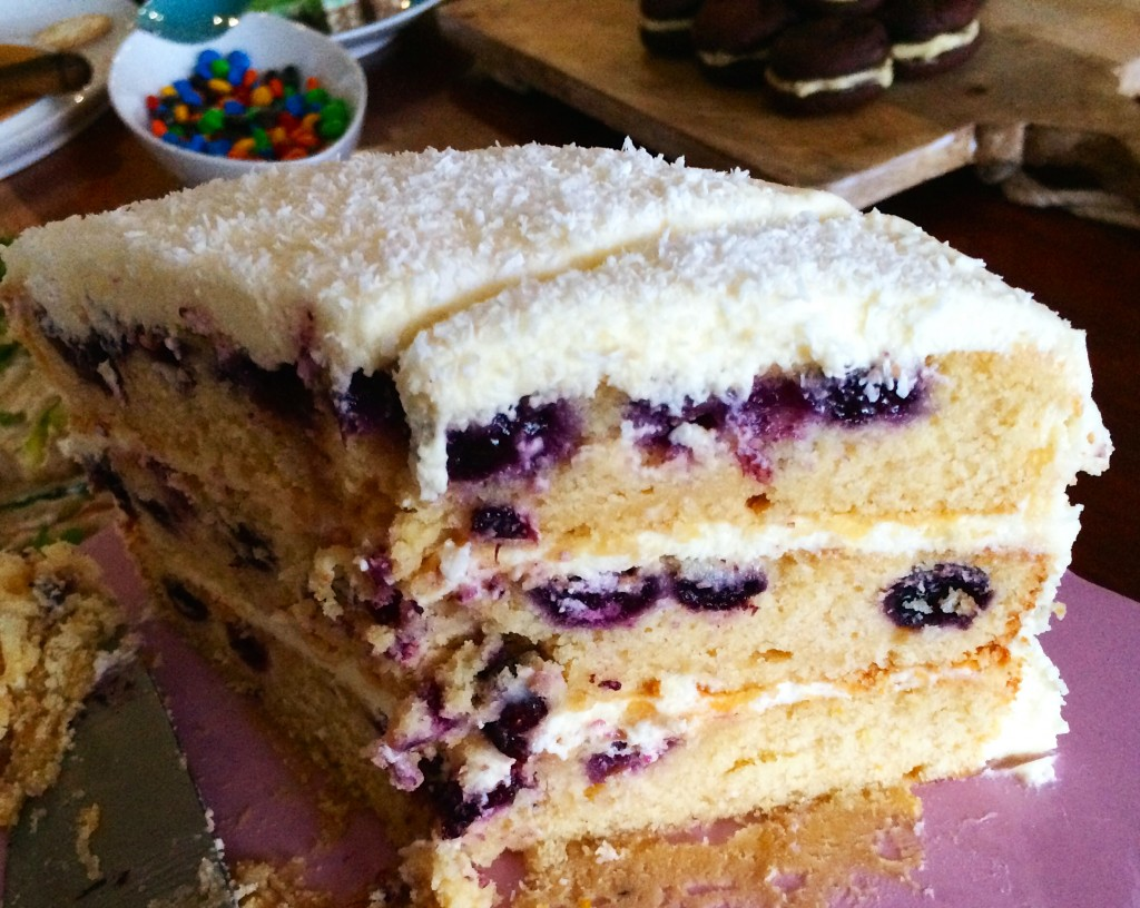 Lemon & Blueberry Layer Cake with Cream Cheese Frosting