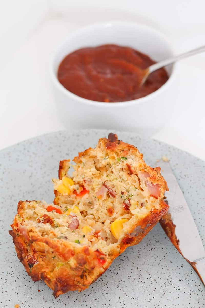 Corn, ham and vegetable savoury muffins.