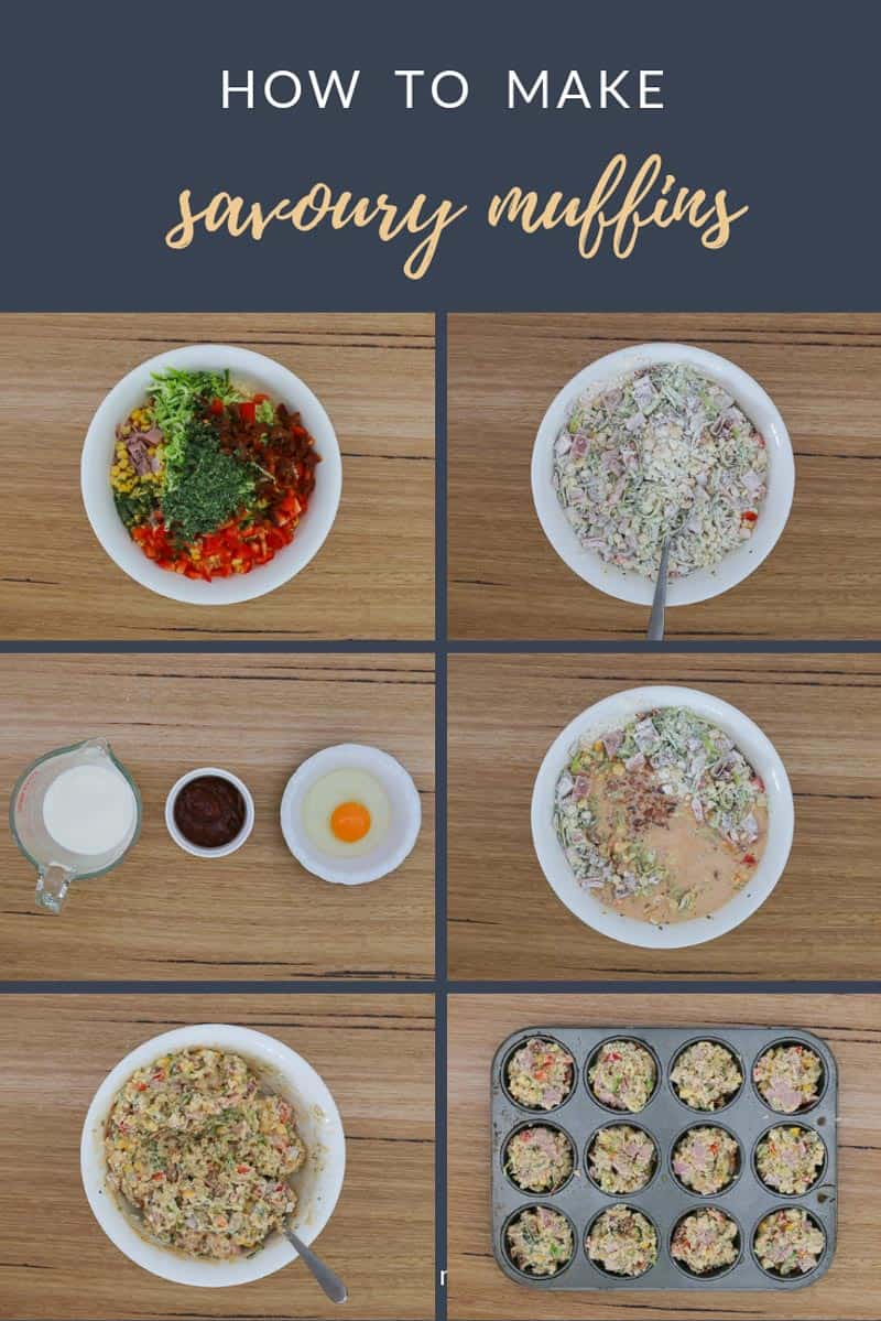 A collection of bowls with ingredients for savoury muffins.