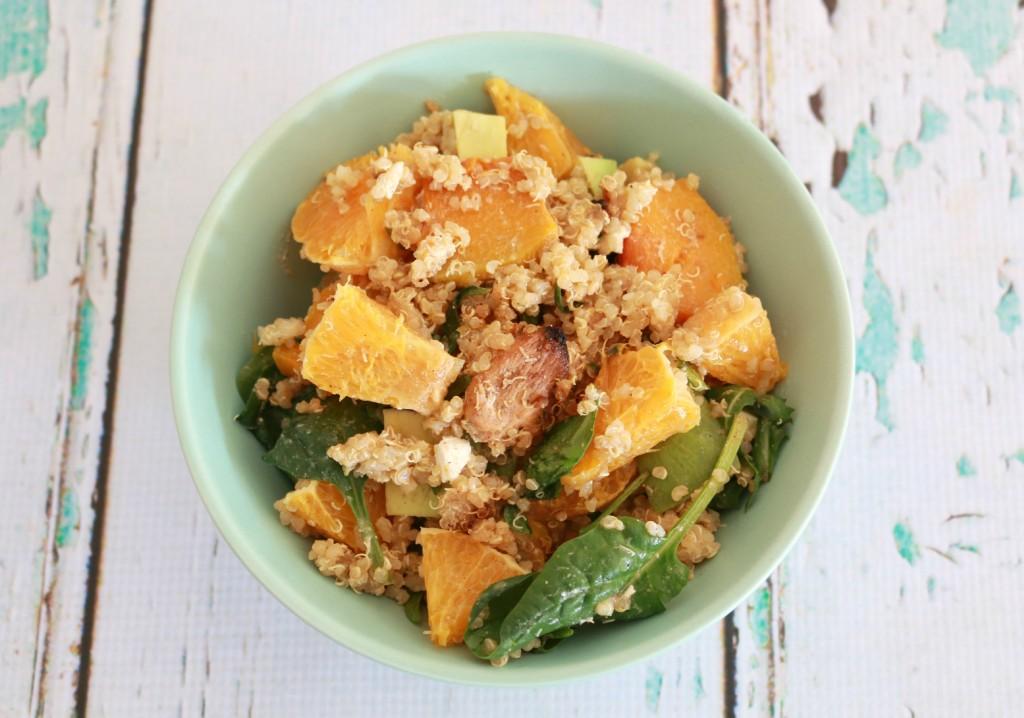 Chicken Quinoa Salad with Orange, Pumpkin & Feta