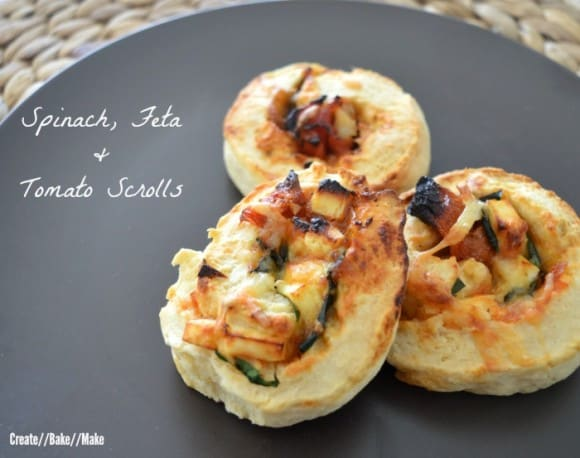 Spinach Feta and Tomato Scrolls