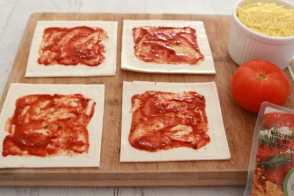 Salami, Tomato & Cheese Pizza Squares