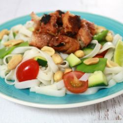 BBQ Chicken Skewers & Rice Noodle Salad