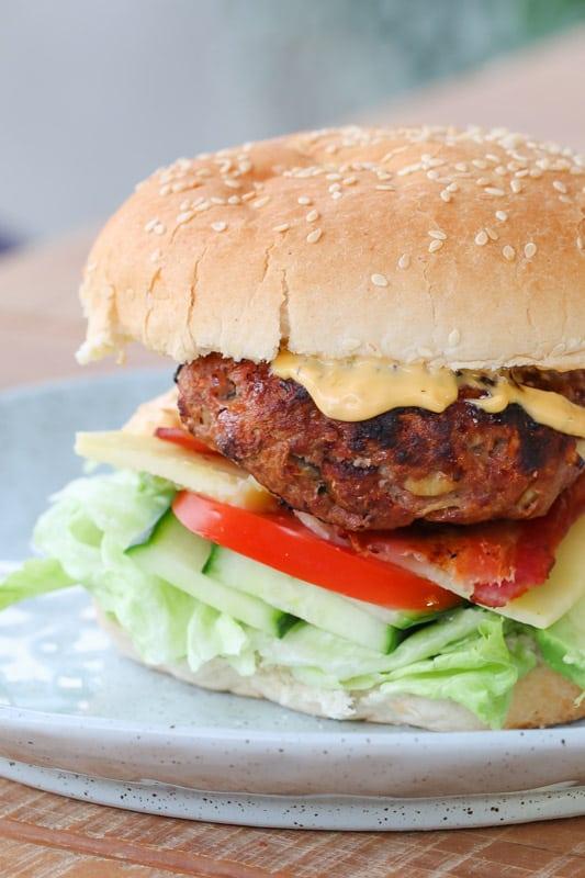 A homemade beef hamburger.