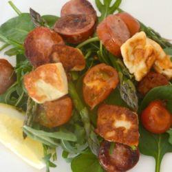 Haloumi, Kabana and Tomato Salad