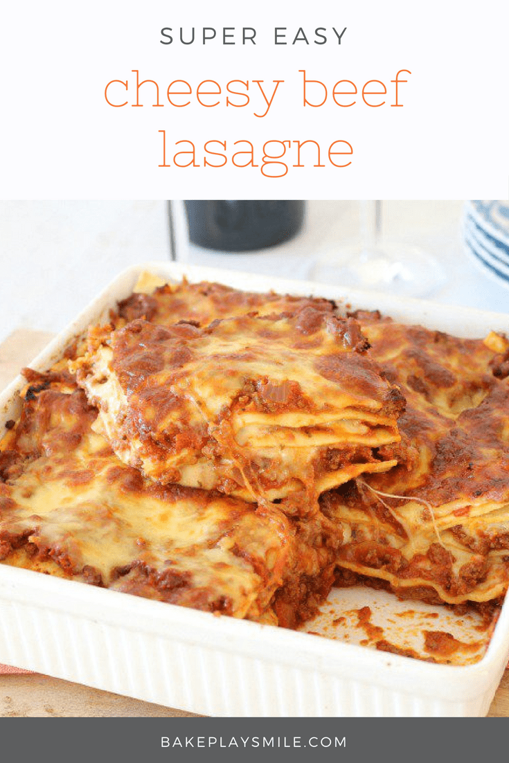 Whip up this Easy Beef Lasagne in no time! Get that extra cheesy taste without having to make a bechamel sauce. A quick & no-fuss dinner!
