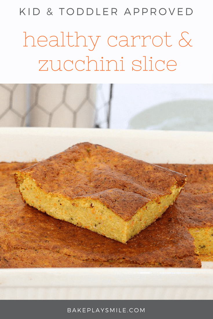 This Healthy Carrot & Zucchini Slice is the perfect lunch or light dinner. Make it ahead of time and freeze for a quick and easy meal on the run!