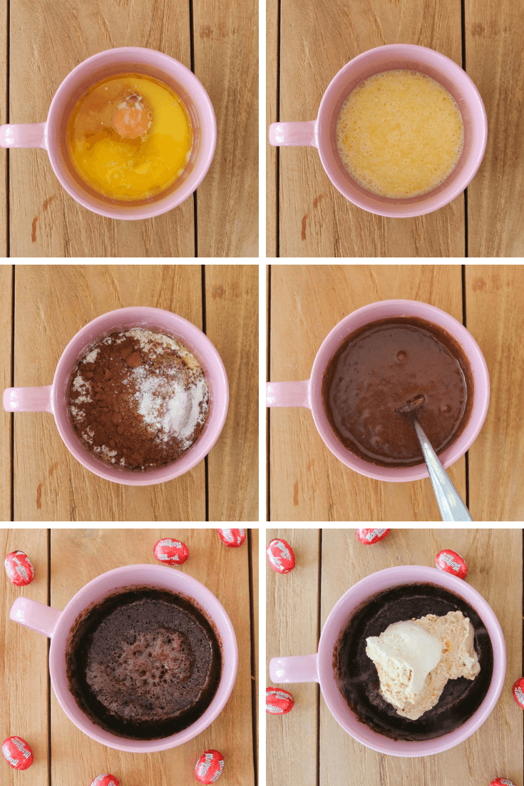 Photos of the steps needed to make a easter egg mug cake in the microwave.