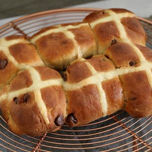 Chocolate Chip Hot Cross Buns