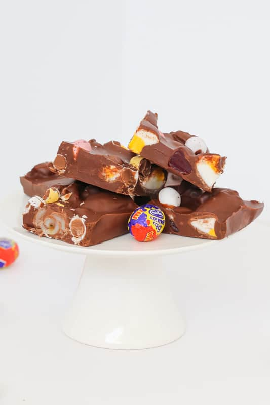A microwave rocky road recipe made with easter eggs.