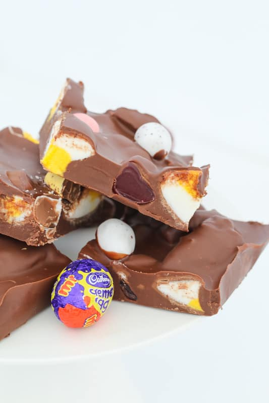 Pieces of chocolate rocky road made with easter eggs.