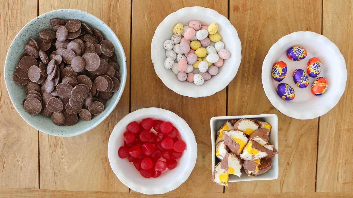 The ingredients for a easter rocky road recipe using easter eggs.