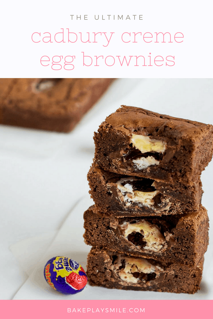 A stack of chocolate brownies with Cadbury creme eggs inside.