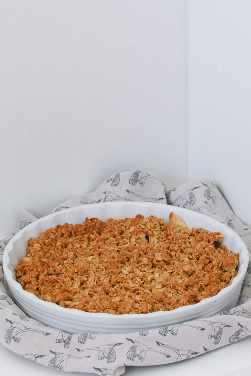 A baking dish of apple crumble.