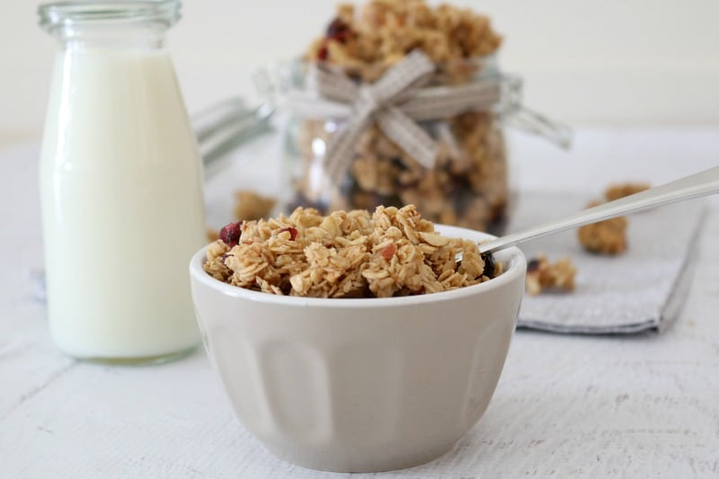 A small grey bowl filled with crunchy granola clusters with almonds and dried cranberries.