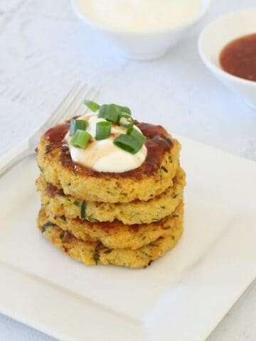 Cheesy Quinoa, Sweet Potato & Zucchini Fritters