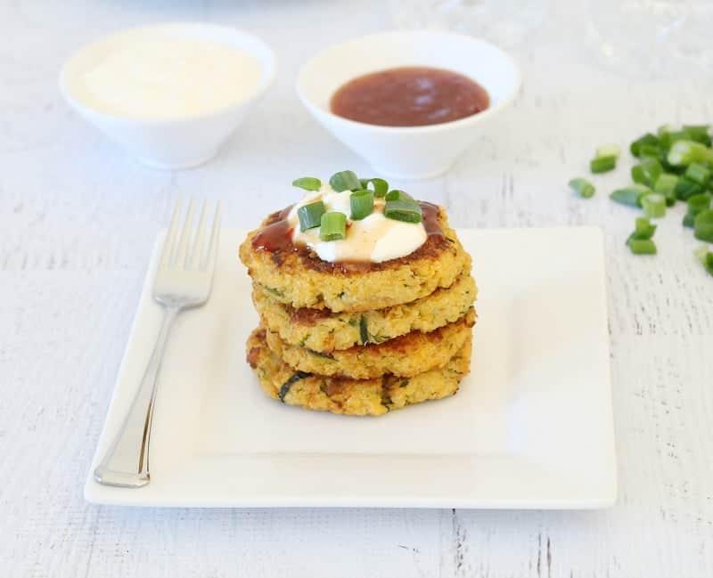 Cheesy Quinoa, Sweet Potato & Zucchini Fritters