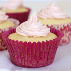Simple Lemon Cupcakes with Raspberry Frosting
