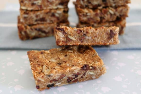A pile of chewy homemade muesli bars