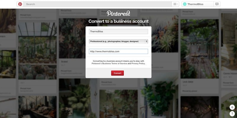 How to convert a personal Pinterest account to a business account