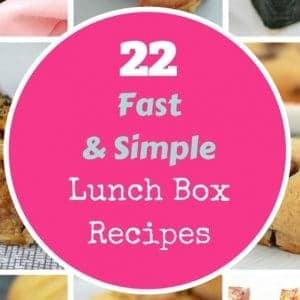 A recipe book cover '22 Fast & Simple Lunch Box Recipes'