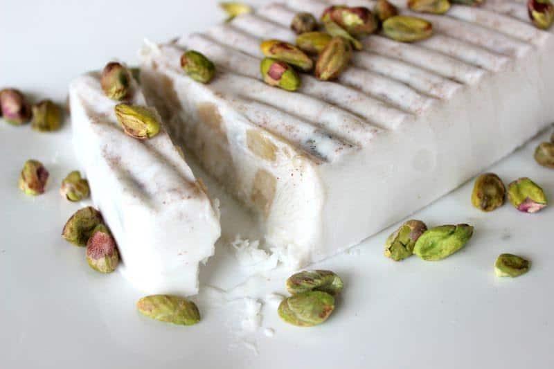 Creamy coconut, spiced apple and pistachio ice-cream