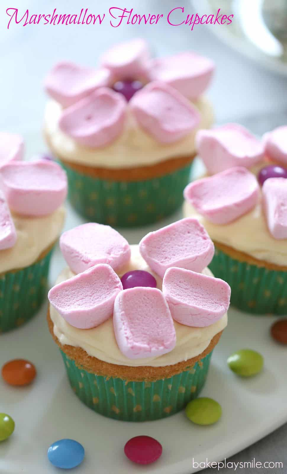 Cute Marshmallow Flower Cupcakes Bake Play Smile