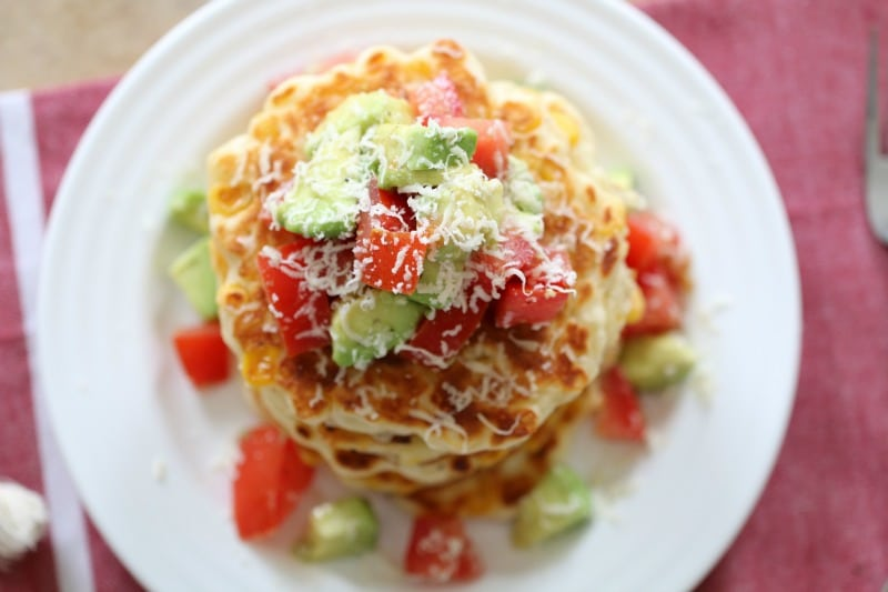 Cheesy Corn Fritters with Tomato & Avocado Salsa