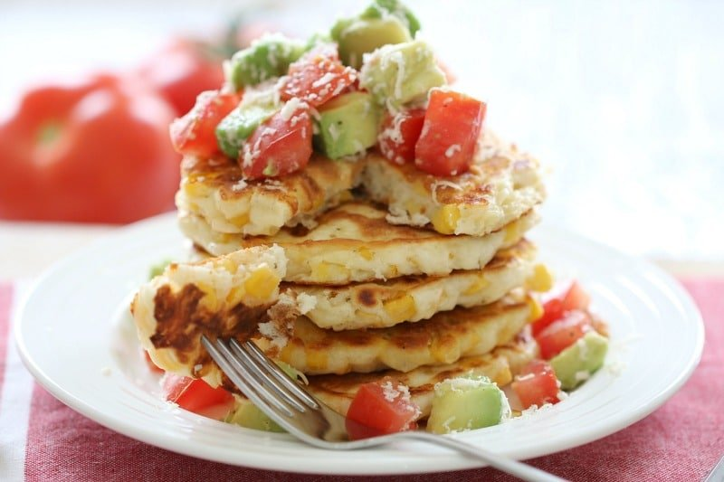 Cheesy Corn Fritters with Tomato & Avocado Salsa