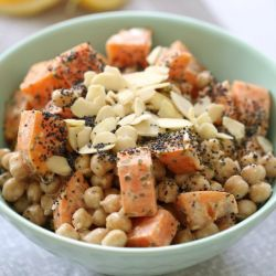 Healthy Chickpea, Almond & Sweet Potato Salad with a Creamy Lemon Dressing