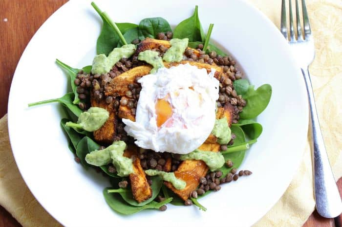 roast-sweet-potato-lentil-and-poached-egg-bowl