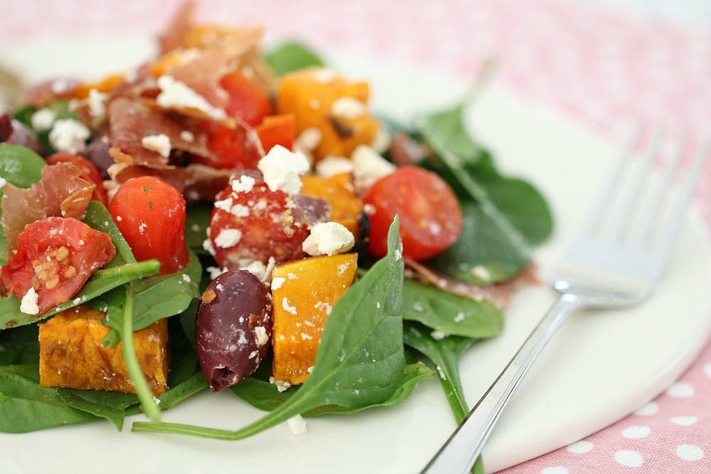 Baby Spinach, Prosciutto, Feta & Roast Pumpkin Salad