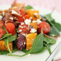 Mum's Baby Spinach, Prosciutto, Feta & Roast Pumpkin Salad