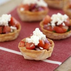Easy Bruschetta Wonton Cups