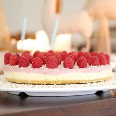 No Bake White Chocolate & Raspberry Cheesecake