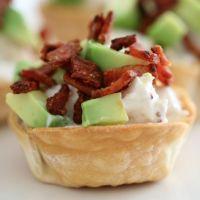 Creamy Chicken Wonton Cups with Bacon & Avocado