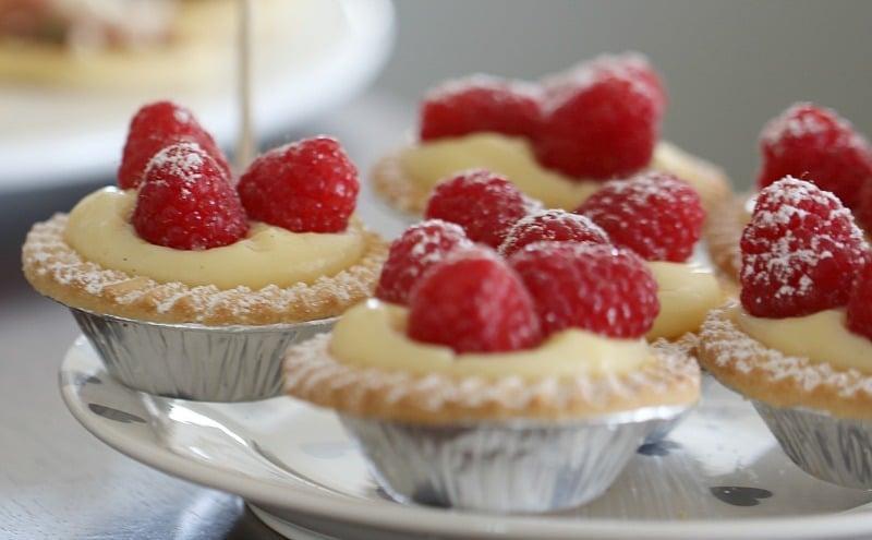 Vanilla Custard Tarts with Fresh Raspberries