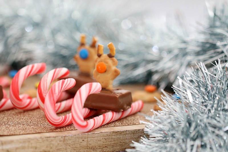 A mini Milky Way on candy canes with a Tiny Teddy on top to look like a reindeer sleigh